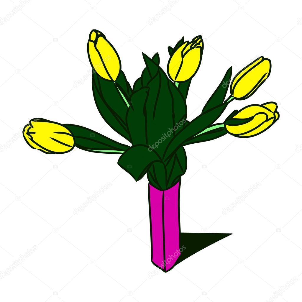 Gelbe Tulpen In Einer Vase 0 Stockvektor Milaendo 107486736