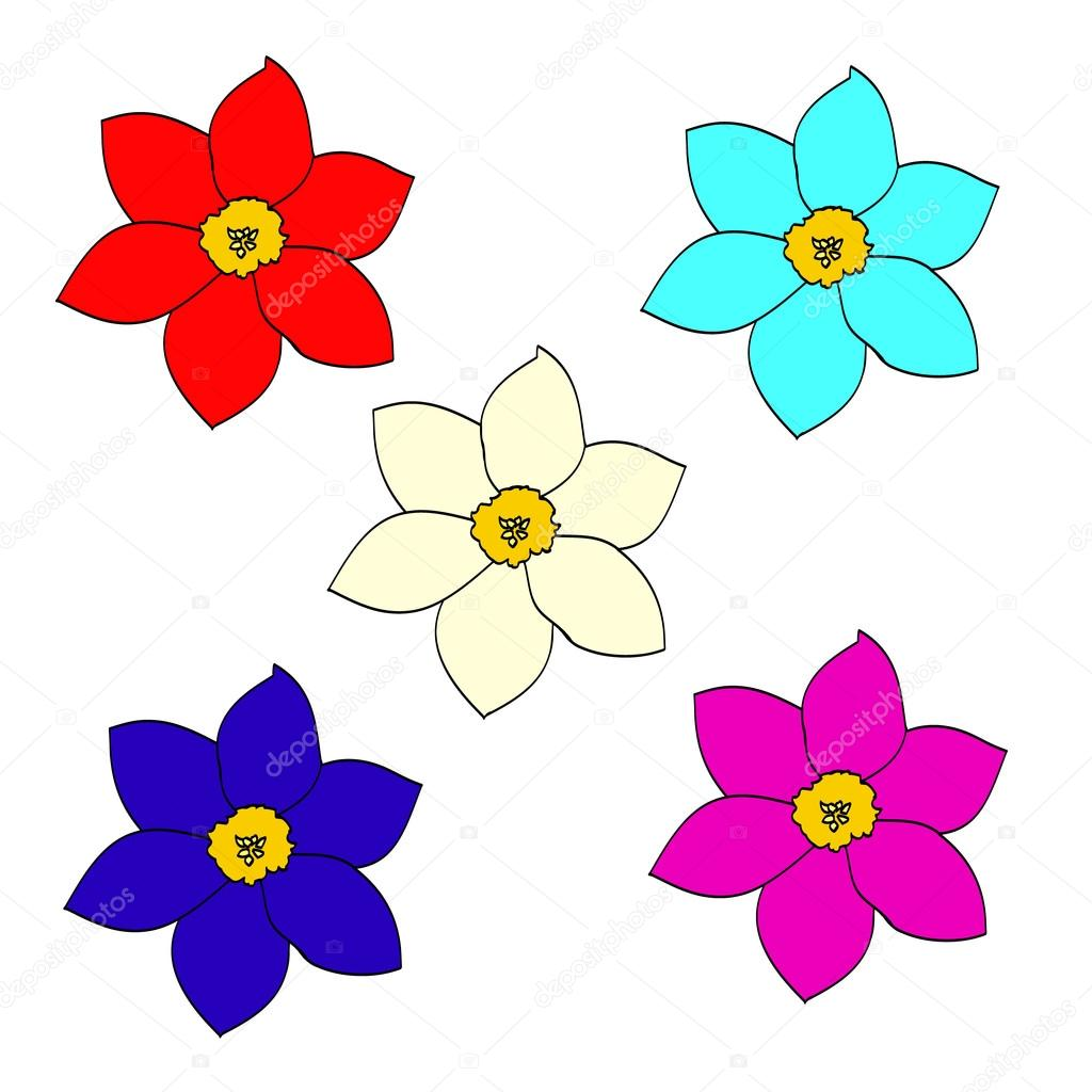 Dibujos Flores A Color Un Conjunto De Flores Sencillas Vector