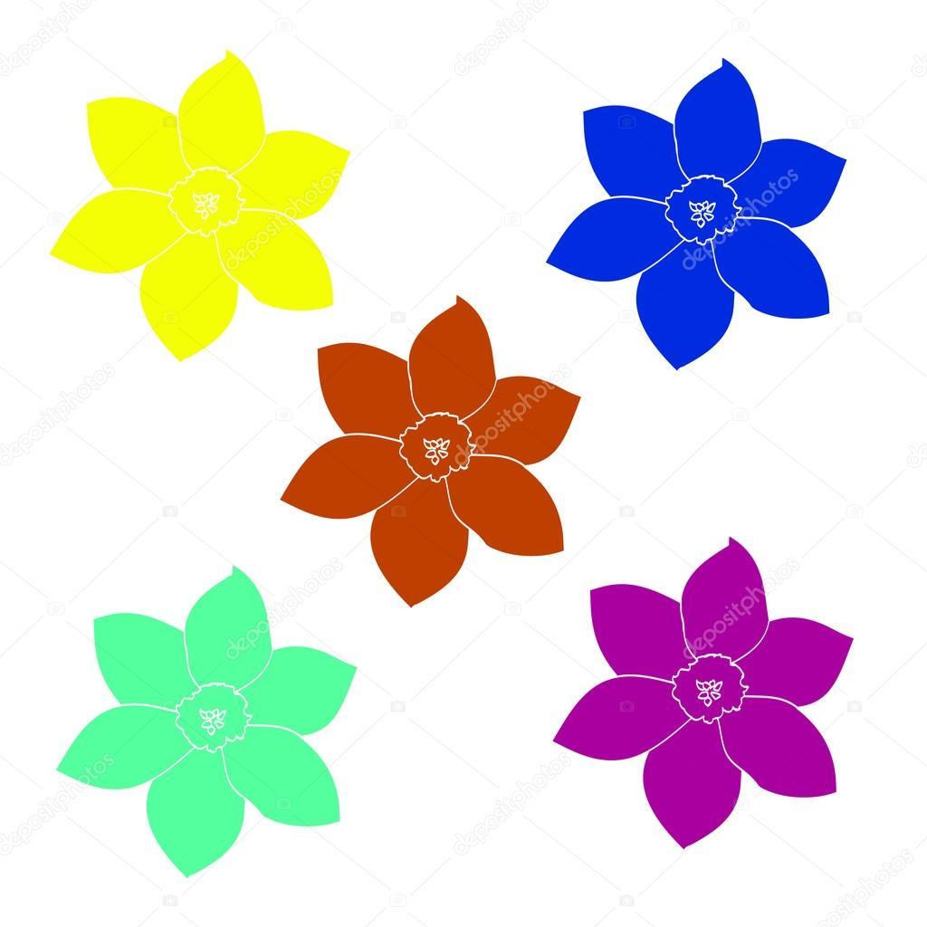 Un Conjunto De Flores Sencillas Vector De Stock Milaendo 109642334