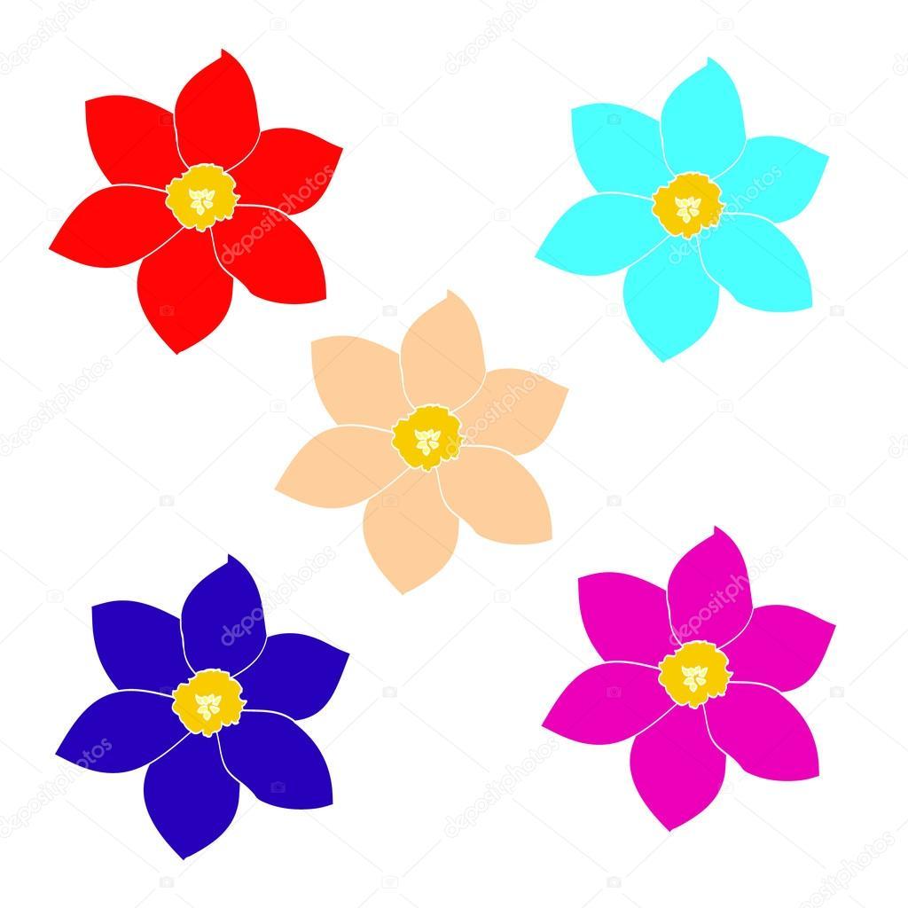 Un Conjunto De Flores Sencillas Archivo Imágenes Vectoriales