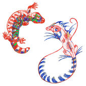 Lizard gekon and Basilisk (psychedelic)