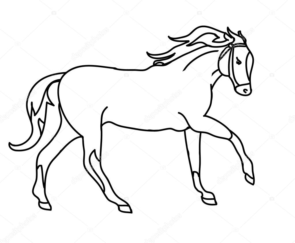 the silhouette of a horse gallop black outline u2014 stock vector