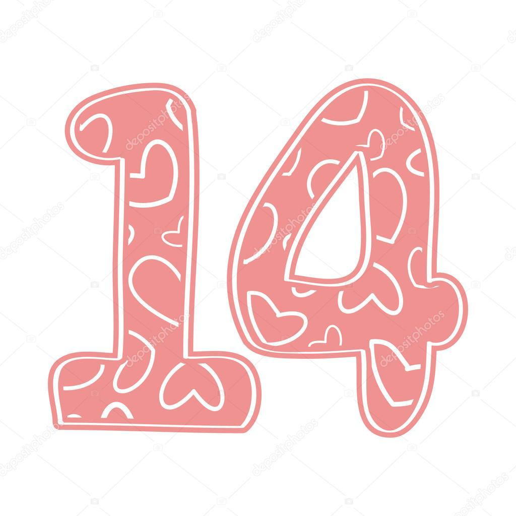 the number 14 of hearts  pink  vector de stock  u00a9 mila clip art hearts love clip art hearts on fire