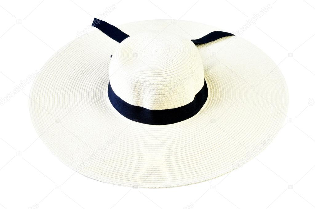 c46087c87d μεγάλο ψάθινο καπέλο που απομονώνονται σε λευκό φόντο — Φωτογραφία ...