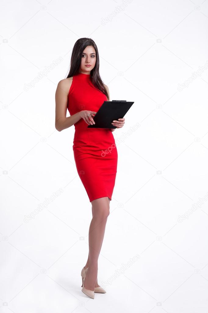 Zwart Rode Jurk.Mooie Kantoor Werknemer In Rode Jurk Zwart Map Houden Stockfoto