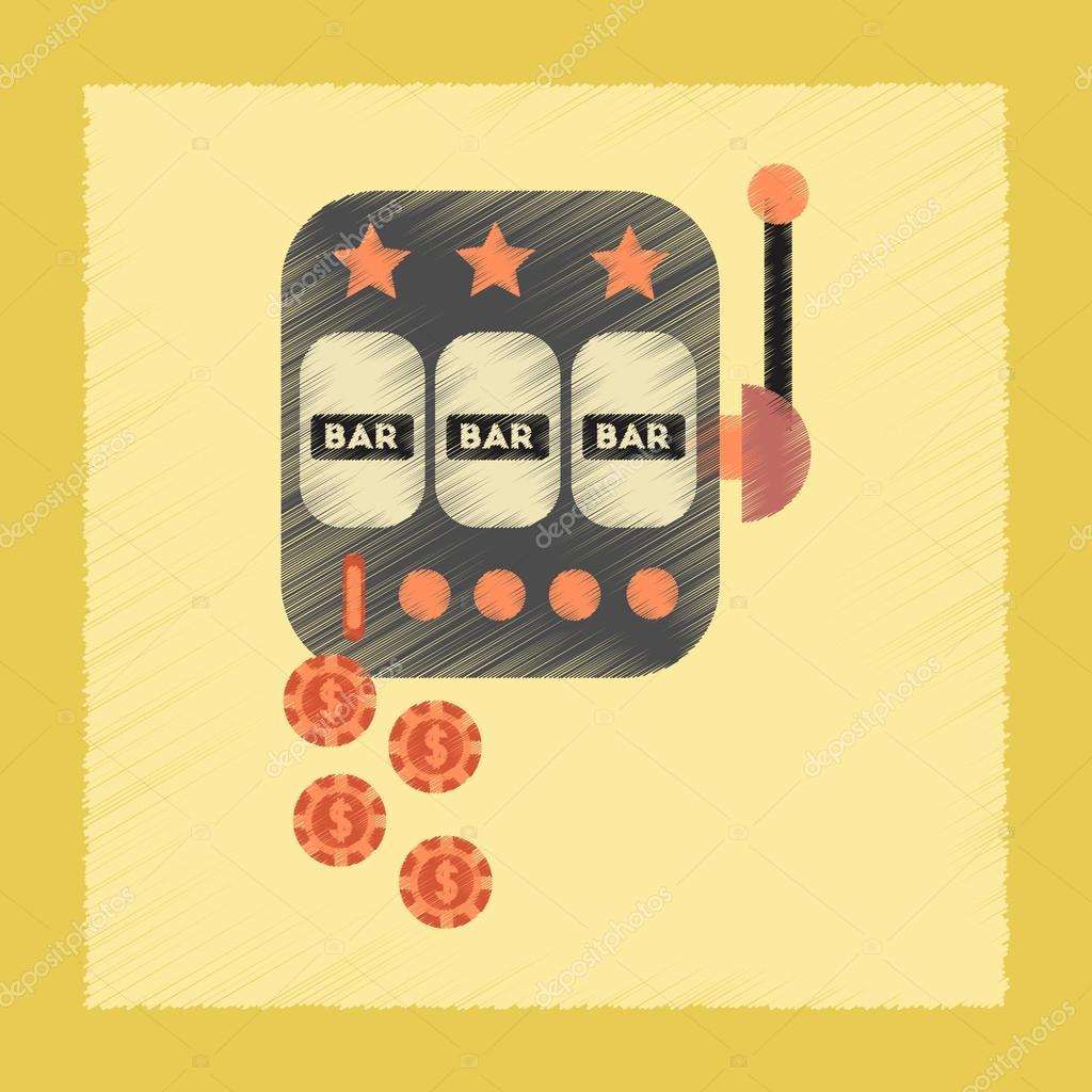 flat shading style icon slot machine winnings
