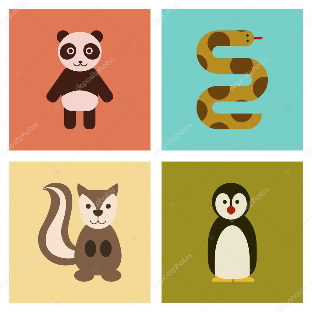 assembly flat icons nature Panda bear snake squirrel penguins