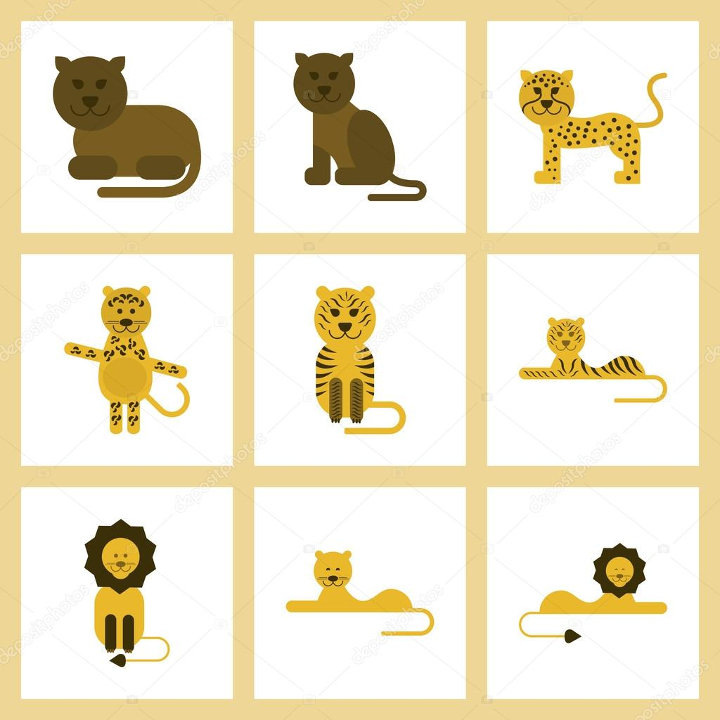 assembly flat icons nature cartoon tiger lioness panther leopard