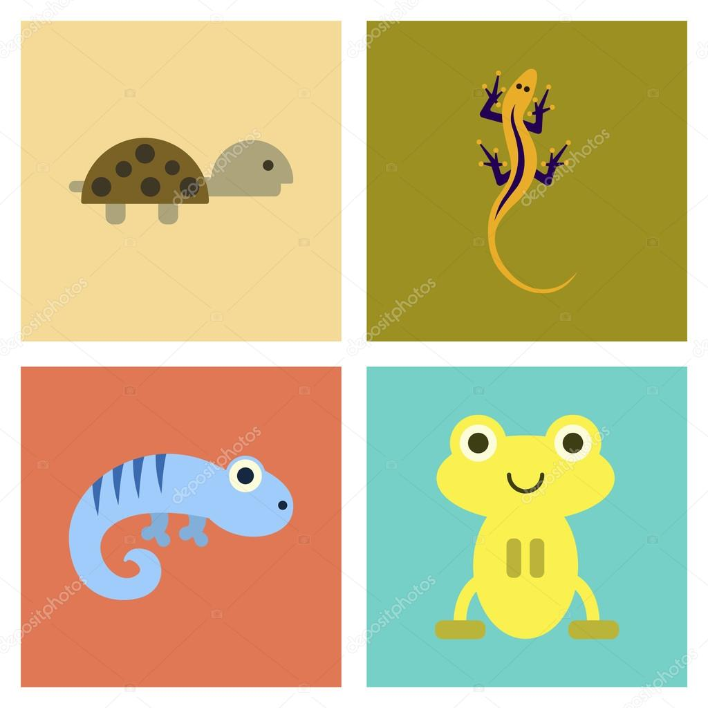 assembly flat icons exotic wild reptiles — Stock Vector ...