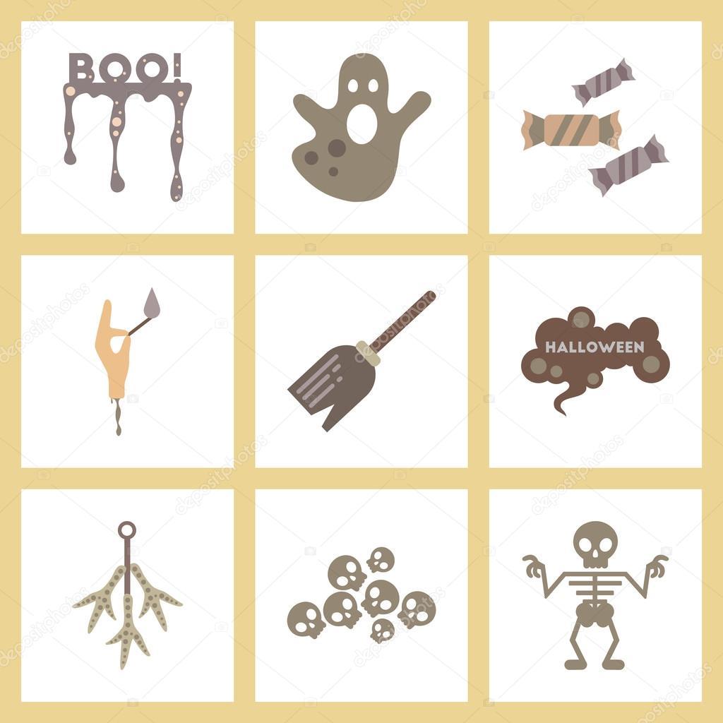 Los iconos planos montaje halloween boo caramelos fantasma Witchs ...
