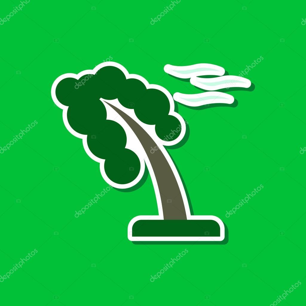 Papier-Aufkleber auf stilvollen Rahmen von starkem Wind Baum ...