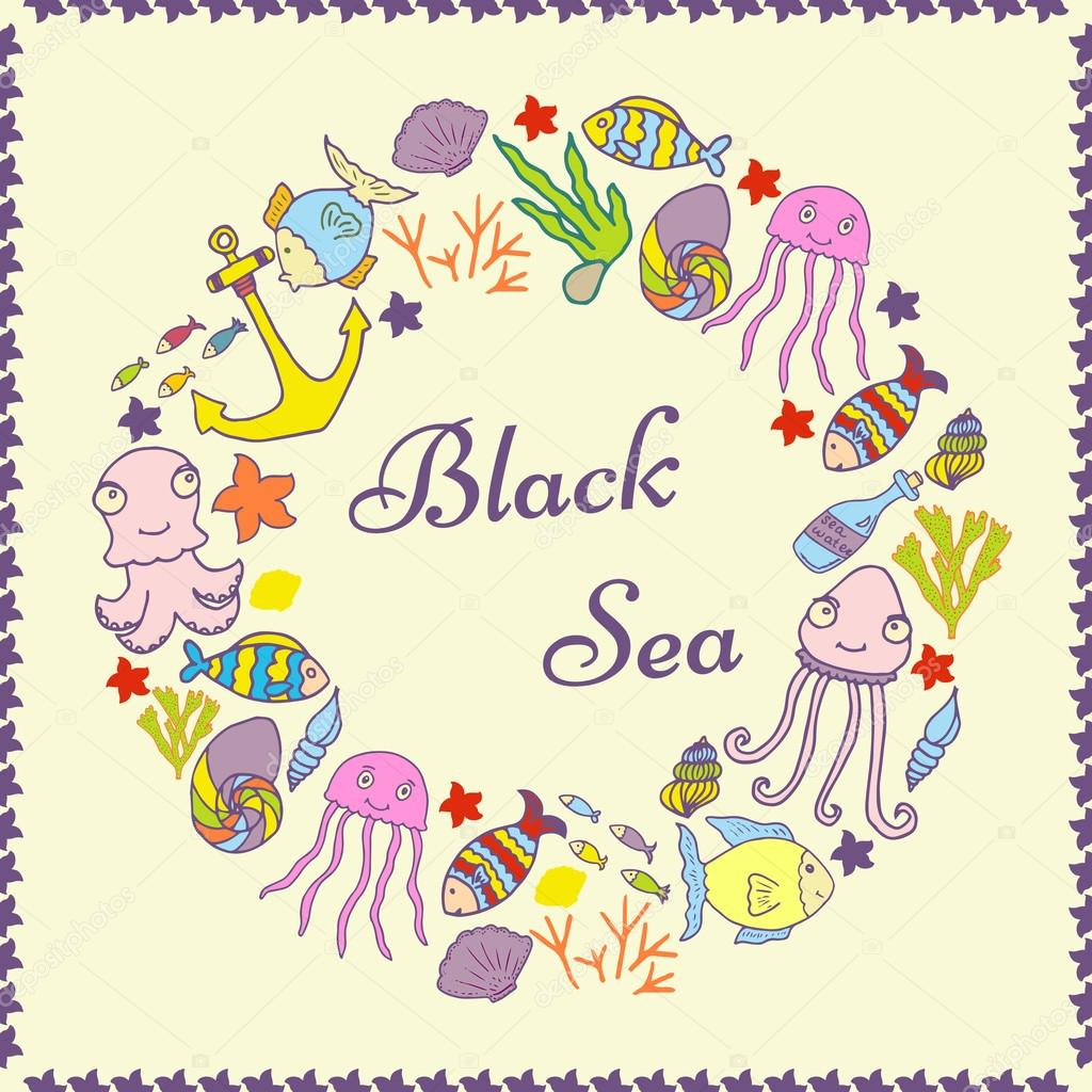 Nautical card template. Hand drawn sea card. Baltic Sea. Summer poster in doodle style. Welcome to the Baltic Sea.
