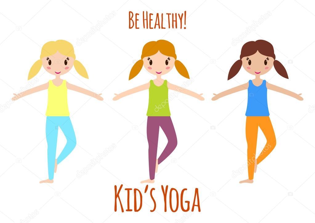 Yoga Kids Set Be Healthy Physical Education For Children Gymnastics For Kids Vector Illustration Stock Vector C Valedella 109854026