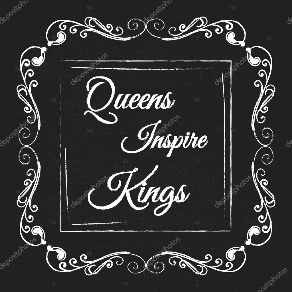Marco decorativo del monograma de vector con cita. Queens inspirar ...