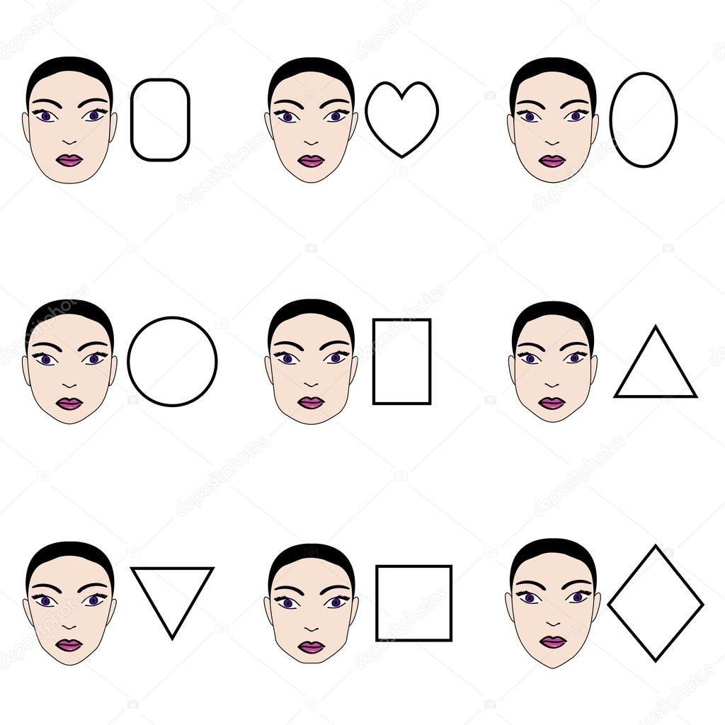 abe26cf8d4 Tipos de rostros de mujer. Vector conjunto de diferentes formas de rostro  femenino — Vector