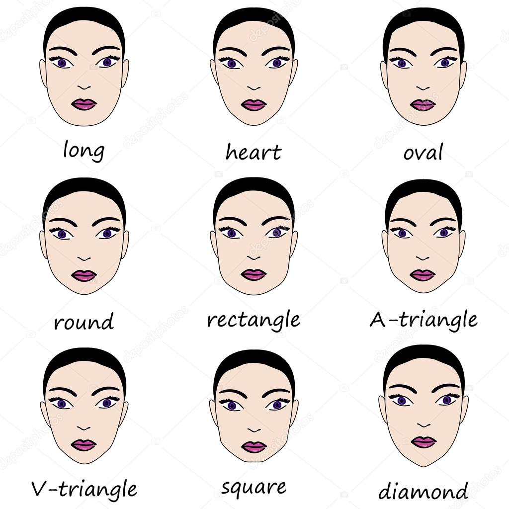 types of woman 39 s faces vector set of different forms of. Black Bedroom Furniture Sets. Home Design Ideas