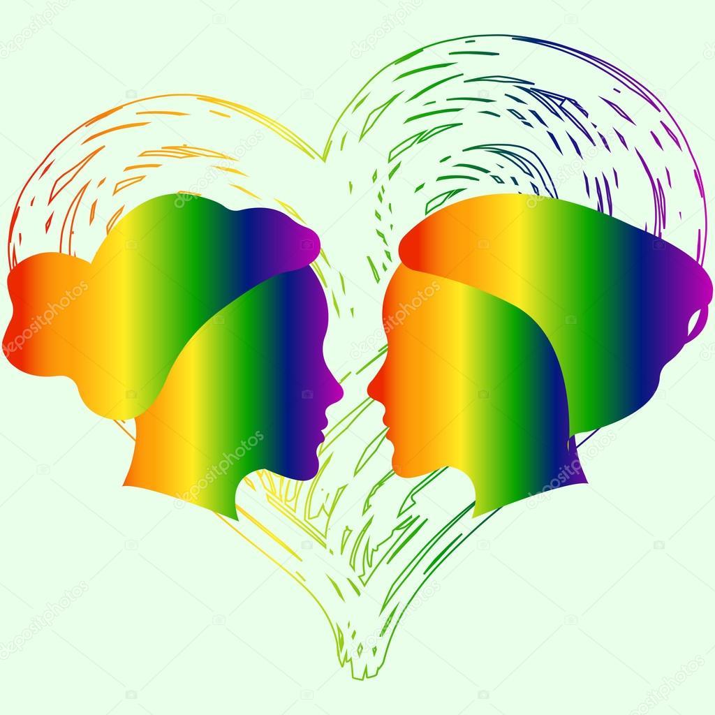 Auguri Matrimonio Lesbo : Láska nemá žádné omezení duhové srdce koncepční design