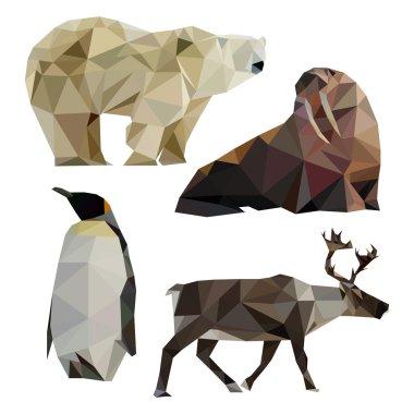 Set of polar polygon animals. Low poly polar bear. Low poly penguin. Low poly deer. Low poly walrus.