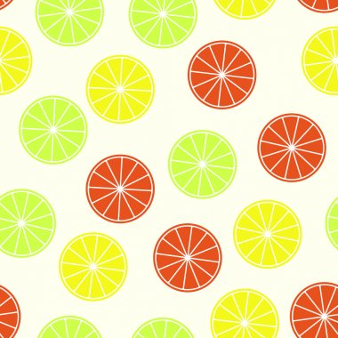 Citrus seamless pattern. Orange, lime and lemo