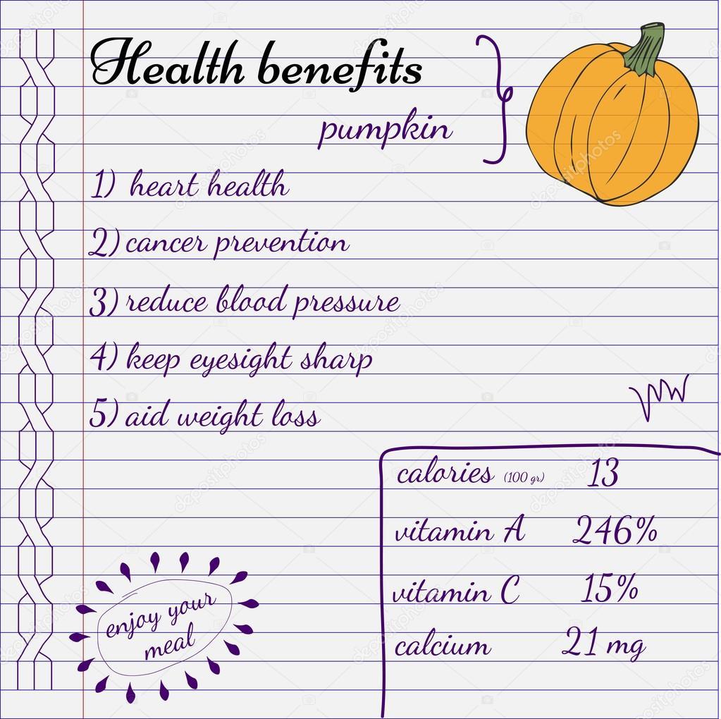 Health Benefits Of Pumpkin Nutrition Facts Hand Drawn Health Benefits Stock Vector C Valedella 116697970
