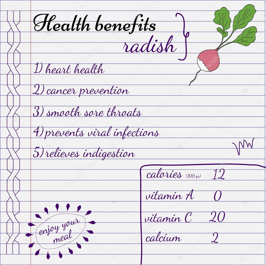 Health Benefits Of Radish Nutrition Facts Hand Drawn Health Benefits Premium Vector In Adobe Illustrator Ai Ai Format Encapsulated Postscript Eps Eps Format