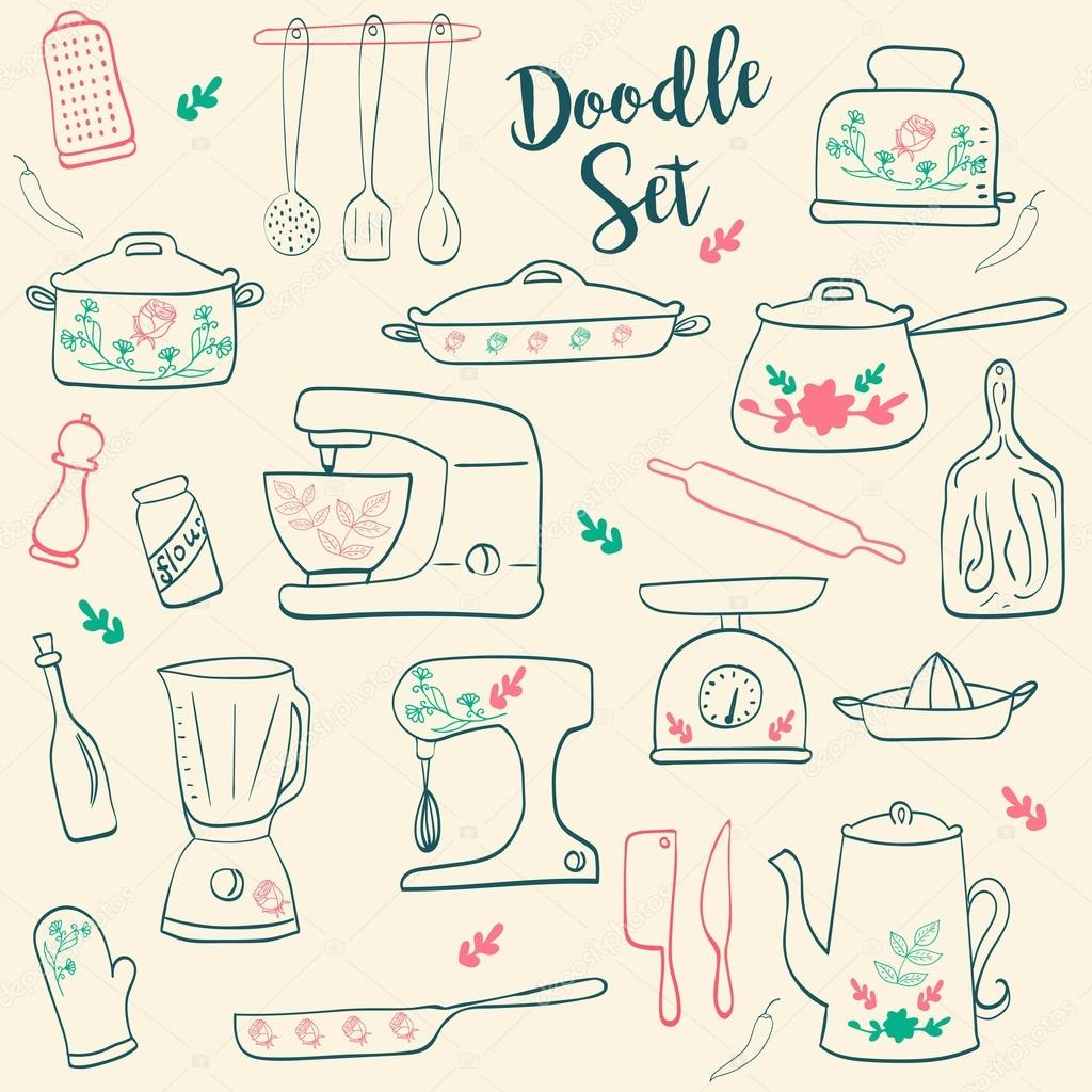 Kitchen Utensils Collection. Set Of Retro Hand Drawn