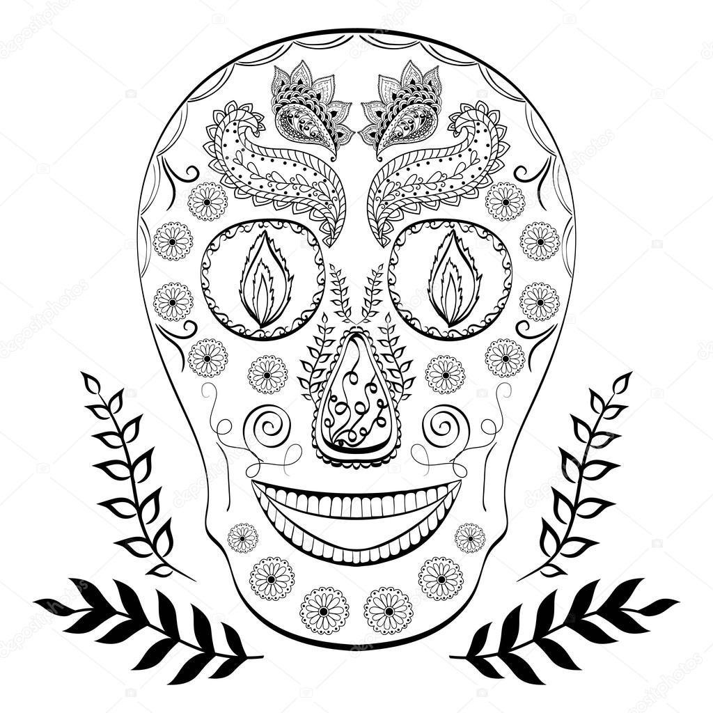 Doodle-Schädel. Hand gezeichneten menschlichen Schädel. Malvorlagen ...