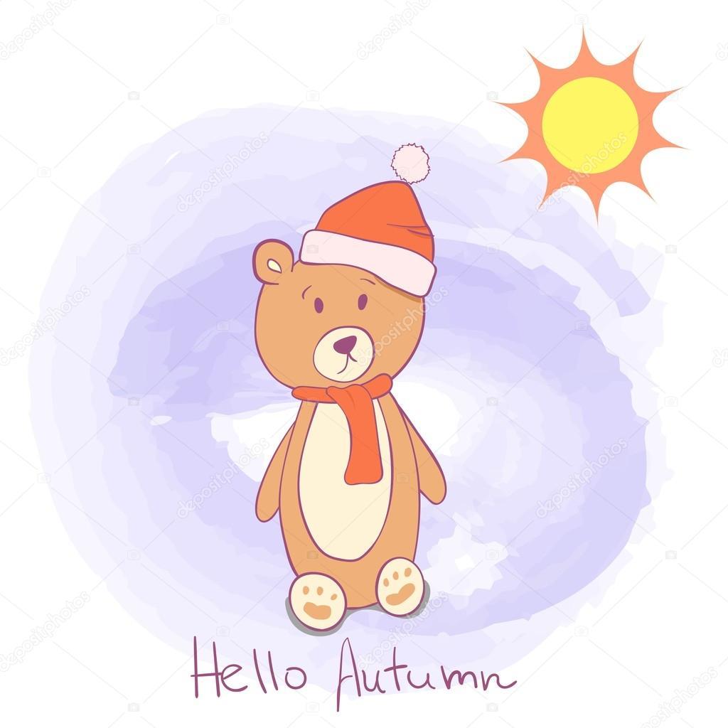 Niedliche Vorlage Grußkarte. Hallo Herbst niedlichen Karte mit Bär ...