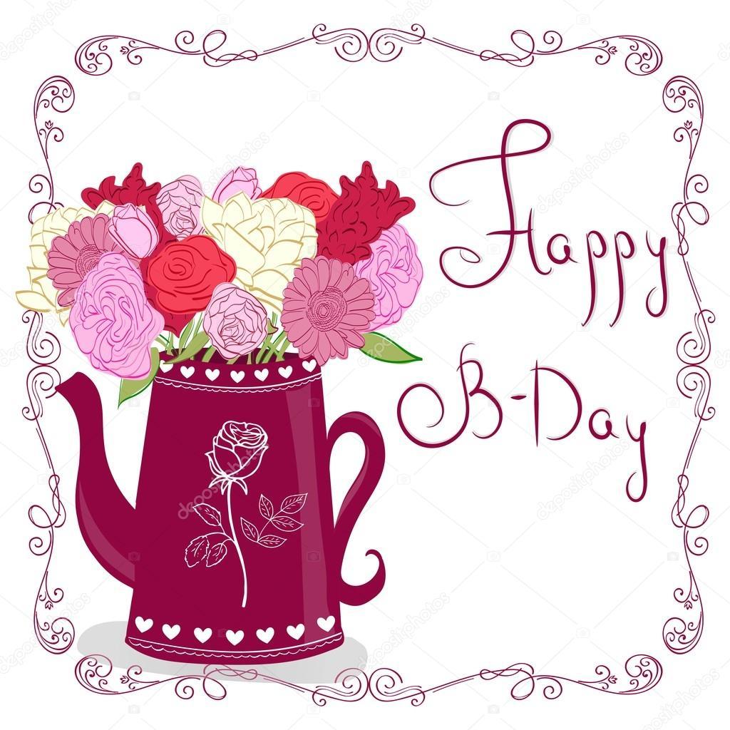 Jolie carte de voeux avec des fleurs. Fleurs en pot. Carte de joyeux anniversaire — Image ...