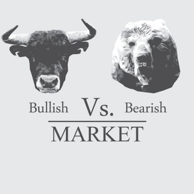 Illustration of market that presented in Bullish vs bearish