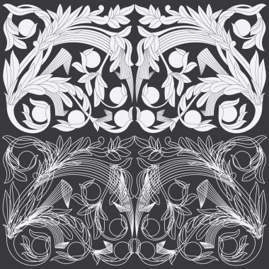 Tropical Floral Carving Pattern.
