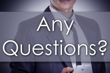 Any Questions? - Young businessman with text - business concept