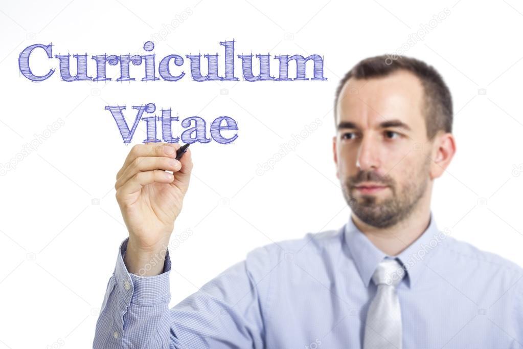 Curriculum Vitae - joven empresario con texto azul — Fotos de Stock ...