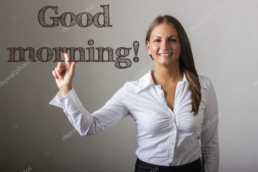 good morning beautiful girl touching text on transparent surf stock photo