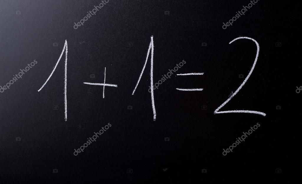 Simple math summation on chalkboard — Stock Photo © zsirosistvan ...
