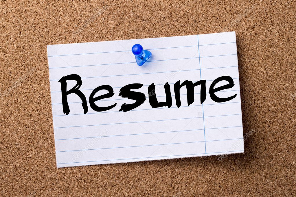 Resume - teared note paper pinned on bulletin board — Stock Photo ...