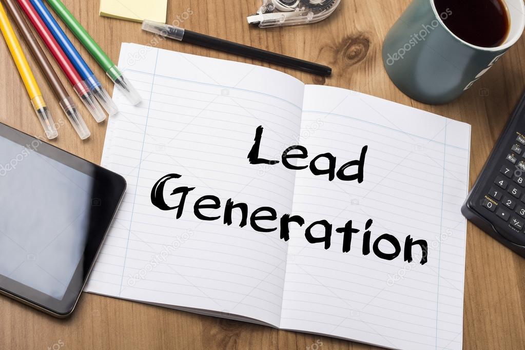 Lead generierung notizbuch mit text u2014 stockfoto © zsirosistvan