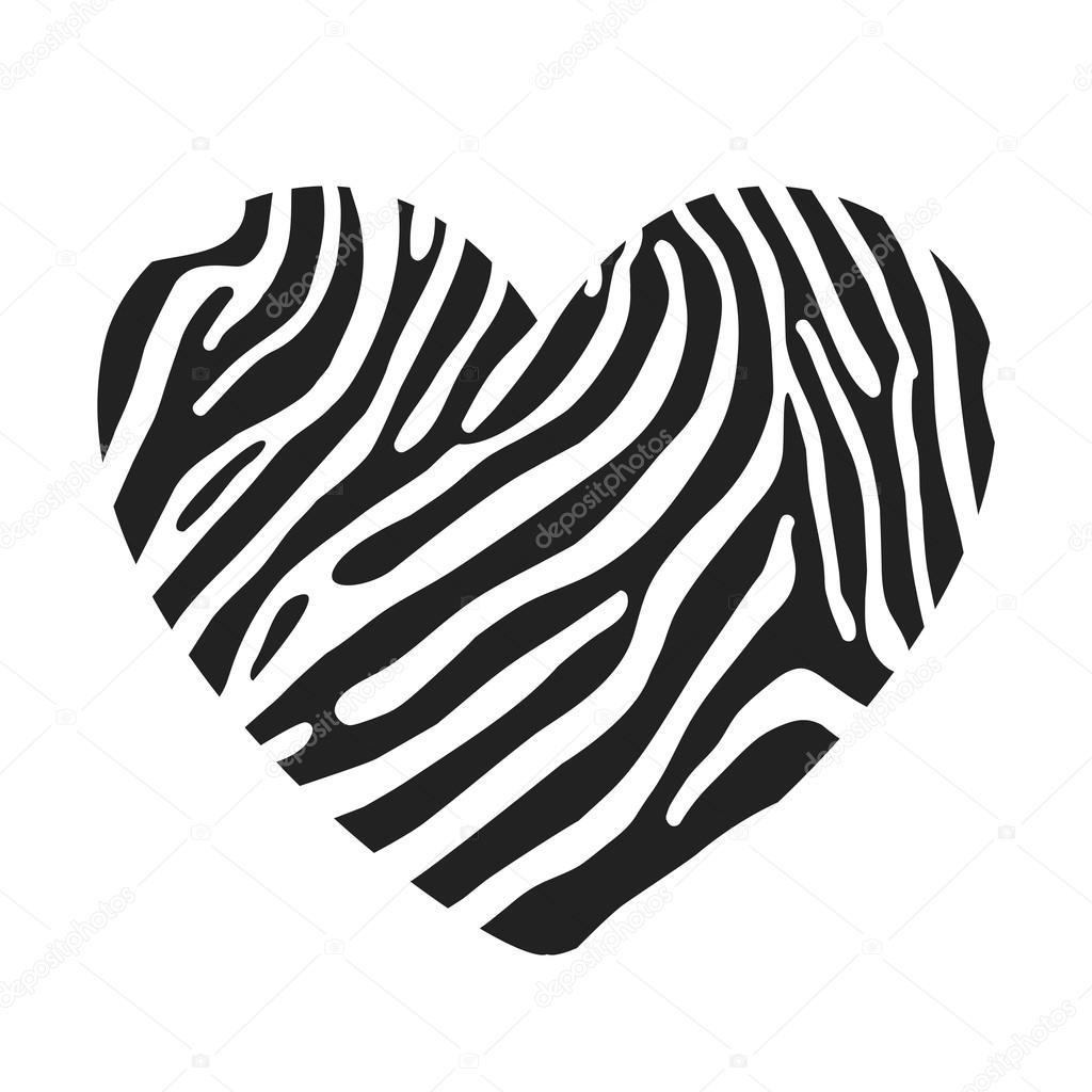 En Forme De Cœur Peint Dans Le Coloriage Zebre Image Vectorielle