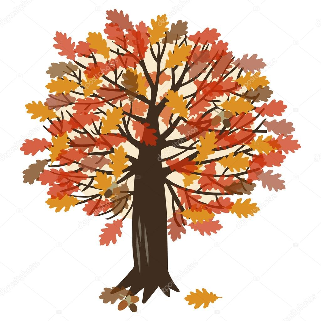 vector illustration with oak tree stock vector clip art of fall leaves single clip art of fall leaves to fit 1 inch spine