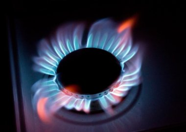 blue flames of a burning natural gas