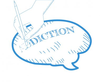 Getting rid of addictions. Hand is erasing word addiction from the brain.