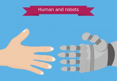 Human and robot hands flat design. Human and robot interaction conceptual illustration.
