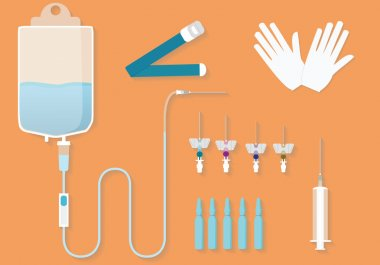 Medical kit for intravenous procedures.Medical goods for intravenous injections