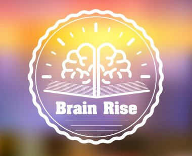 Learning and education logotype. E-learning courses brain badge on blurred background