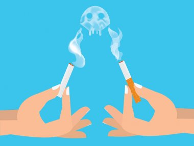 Hands breaking cigarette illustration. Harm of smoking concept.