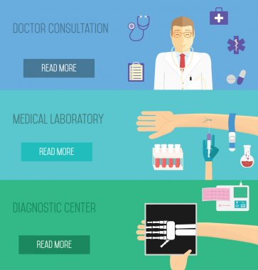 Medical services illustration. Doctor consultation, laboratory analisyses and diagnostic center.