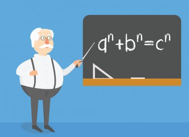 Teacher explaining task on blackboard. School lesson, universaty lecture conceptual illustration.