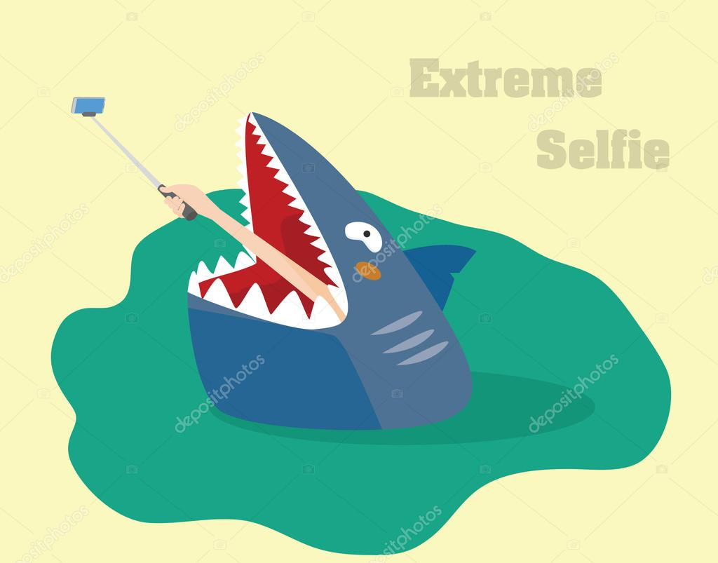 Extreme selfie concept. Hand making selfie vector illustration.