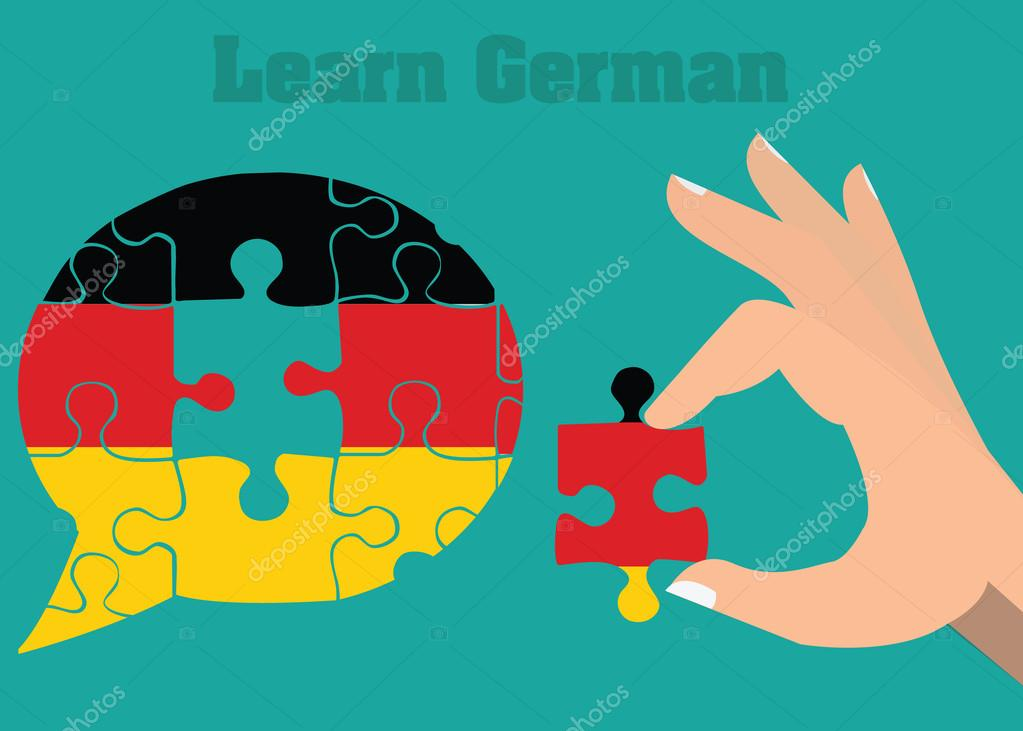 Learn and speak german conceptual illustration