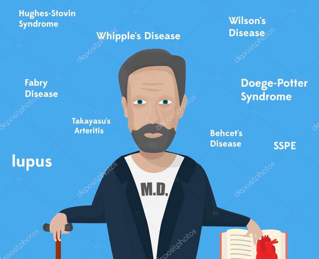 Rare diseases conceptual illustration. Male character with cane and book.